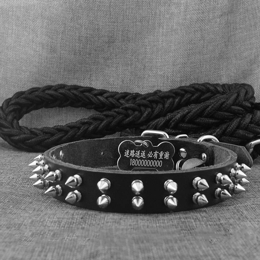 Black L-width3cm length& xFF08;46-56& xFF09;double row Black L-width3cm length& xFF08;46-56& xFF09;double row Griony Fashion Personalized Rivet Leather pet Collar DogSoft Touch Collars