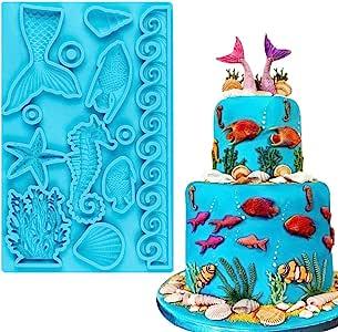SAKOLLA Mermaid Theme Fondant Mold - Mermaid Tail Seahorse Seashell Starfish Seaweed Fish Silicone Mold for Cake Decoration, Chocolate, Candy, Polymer Clay, Cupcake Decor, Sugar Craft