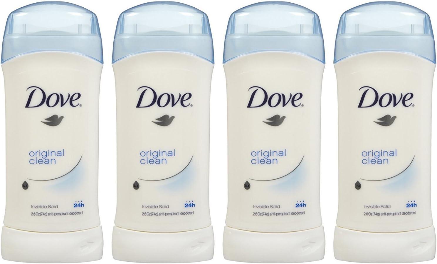 Dove Invisible Solid Deodorant, Original Clean - 2.6 oz - 4 pk