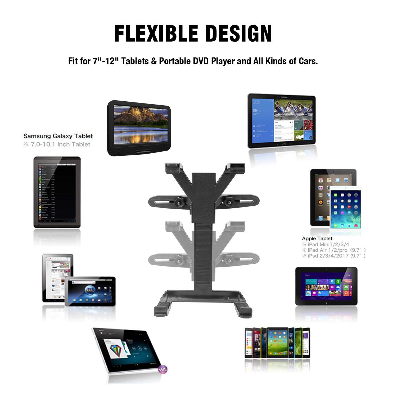 Bedee Support Tablette Voiture, 360 Degrés Rotation Support Universal Porte Tablette Appuie-tête de Voiture, Compatible Tablettes 7-12 Pouces