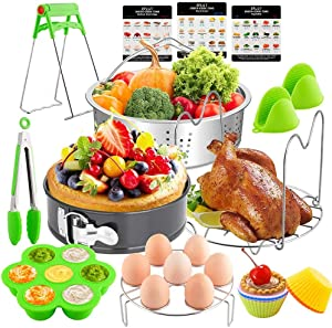 EPLST 18 Pieces Pressure Cooker Accessories Set Compatible with Instant Pot 6/8Qt-Steamer Basket, Springform Pan, Steamer Rack Trivet, Egg Bites Mold, Egg Rack, Kitchen Tongs, 3 Cheat, 6 Cake Cups