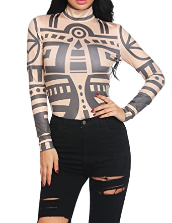 1fc8bde9617 Amazon.com  Gumod Women Tattoo Shirt Sexy Long Sleeve Tribal Print Slim Fit  Basic Turtleneck Top  Clothing