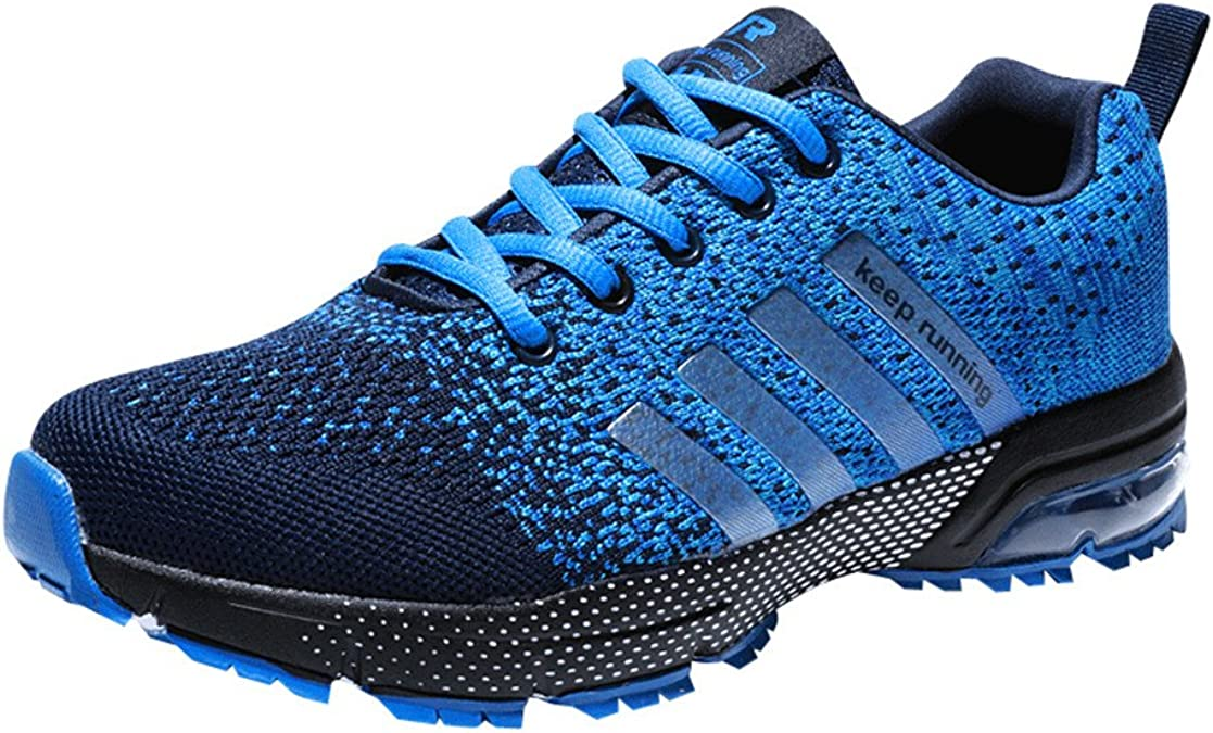 Zapatillas Deporte Hombre Zapatos para Correr Athletic Cordones Air Cushion 3cm Running Sports Sneakers 36-47 Negro Negro-Blanco Azul Rojo: Amazon.es: Zapatos y complementos