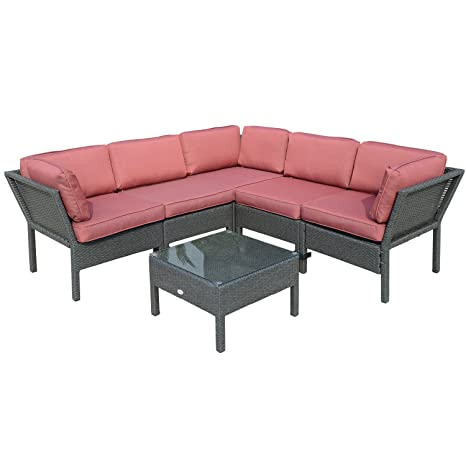 Stupendous Outsunny 6Pc Stackable Outdoor Rattan Sofa Set Patio Wicker Sectional Furniture W Cushions Inzonedesignstudio Interior Chair Design Inzonedesignstudiocom
