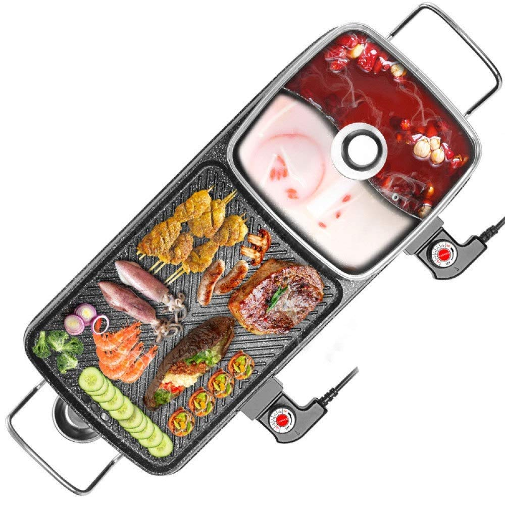 ZHOUYA Barbecue One Pot,Home Electric Grill Smokeless,Non-Stick Barbecue Machine Baking Pan Hot Pot Electric Heating,Multi-Function Two-in-one Electric Hot Pot Barbecue Shabu-shabu, Barbecue 2200W