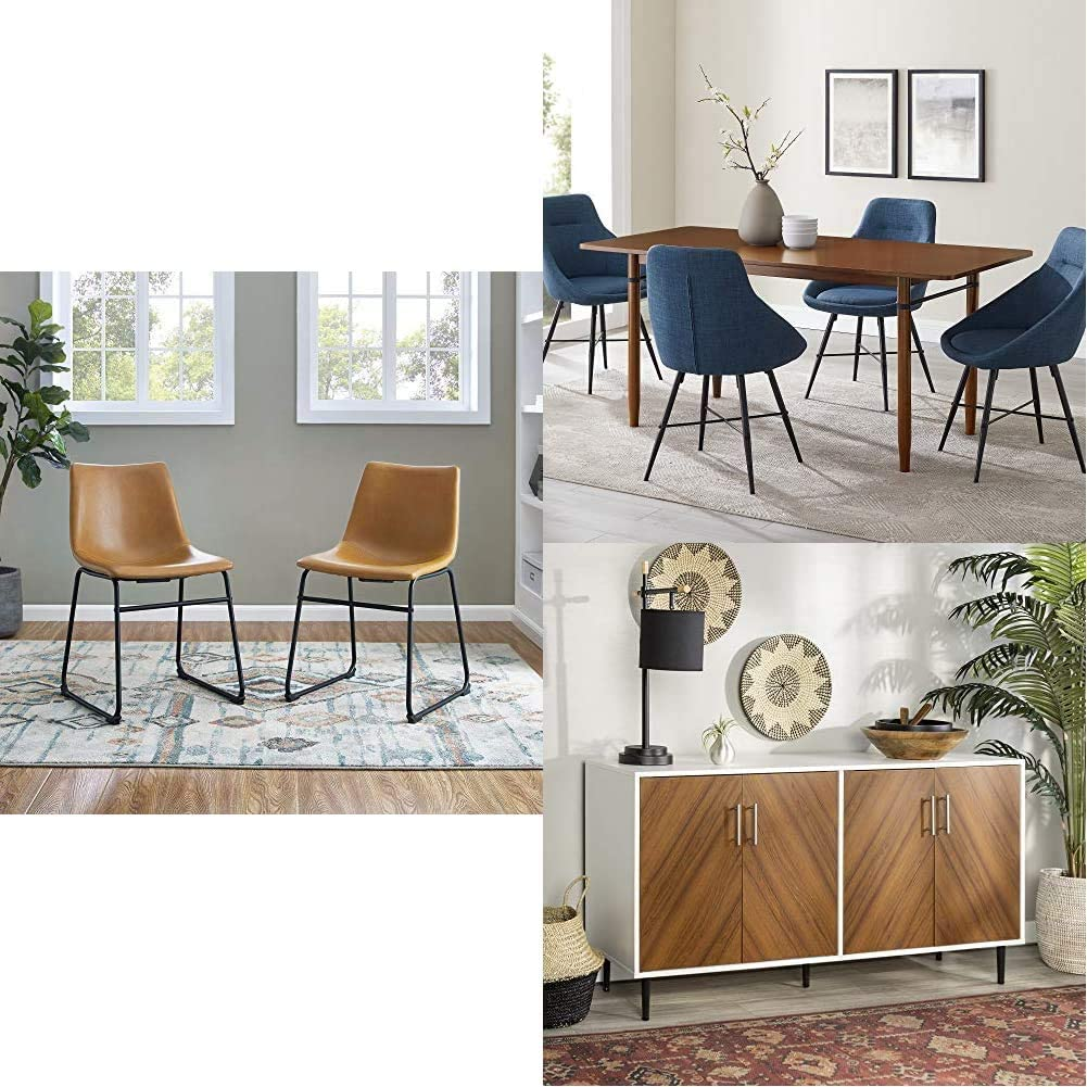 """Walker Edison Furniture 18"""" Armless Indoor Kitchen Dining ChairSet of 2, Whiskey Brown 