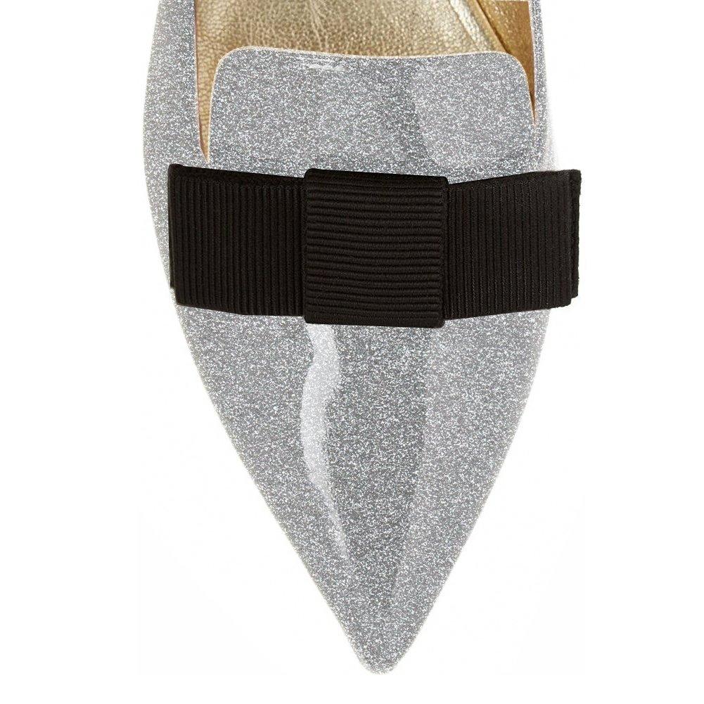 Eldof Women's Flats, Pointed Toe Flats Pumps, Patent Leather Flats Pumps, Walking Dress Office Classic Comfortable Flats B07DZWWJCC 6.5 B(M) US|Silver-glitter