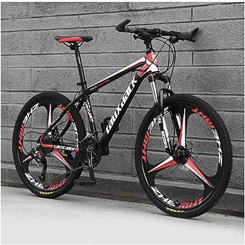 KXDLR Suspensión Delantera De Bicicletas De Montaña, De 17 Pulgadas De Alta Carbono Marco De Acero De 26 Pulgadas Y Ruedas con Frenos De Disco Mecánicos, 24 Velocidad Tren De Transmisión,Rojo: Amazon.es: