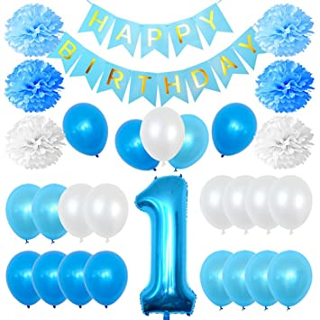 1st Birthday Boy Decorations Kit First Number One Balloon Happy Banner Blue