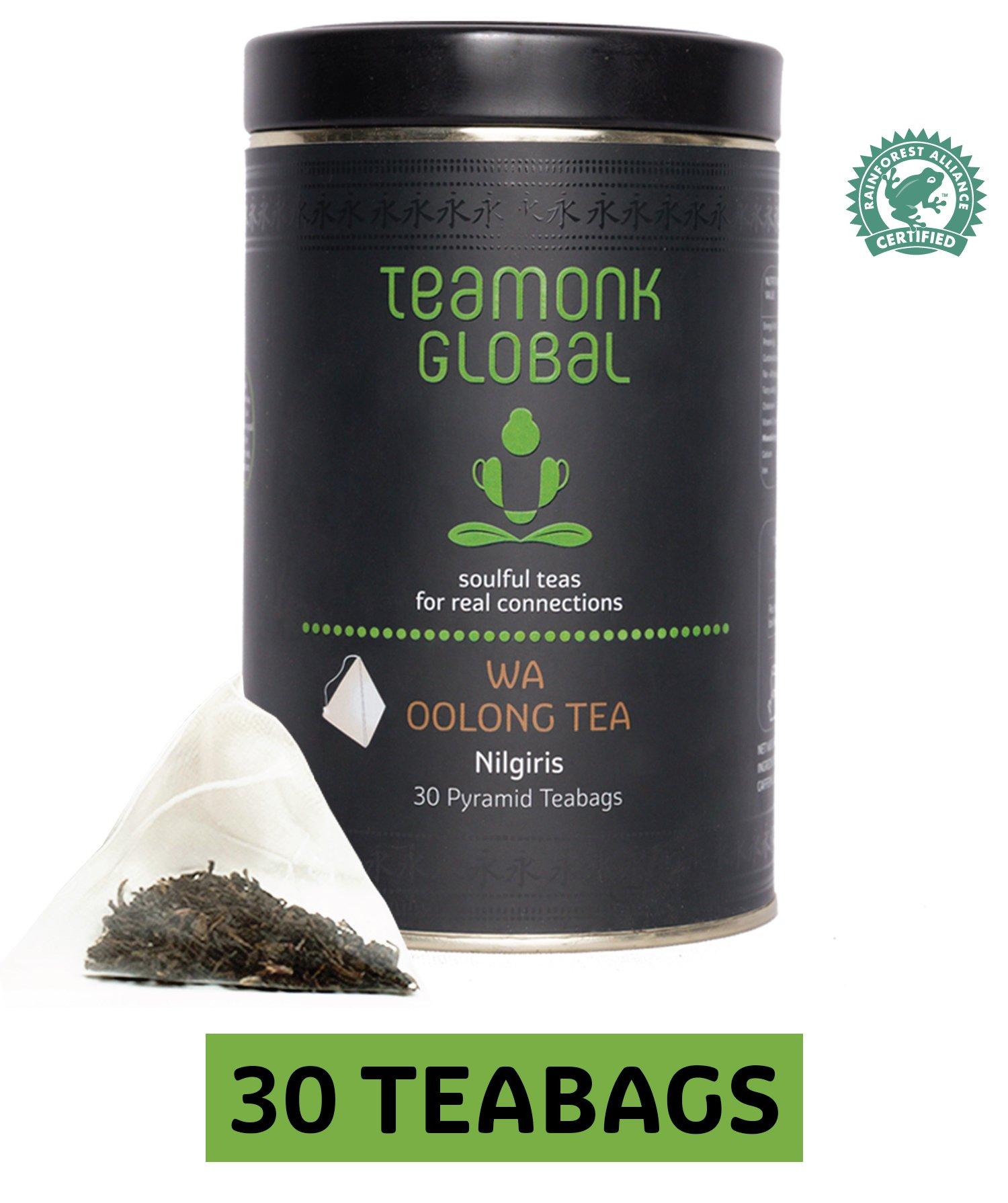 Teamonk Nilgiri Oolong Tea, 30 Teabags   100% Natural Whole Leaf Teabags for Weight Loss   Wa Oolong Tea  No Additives