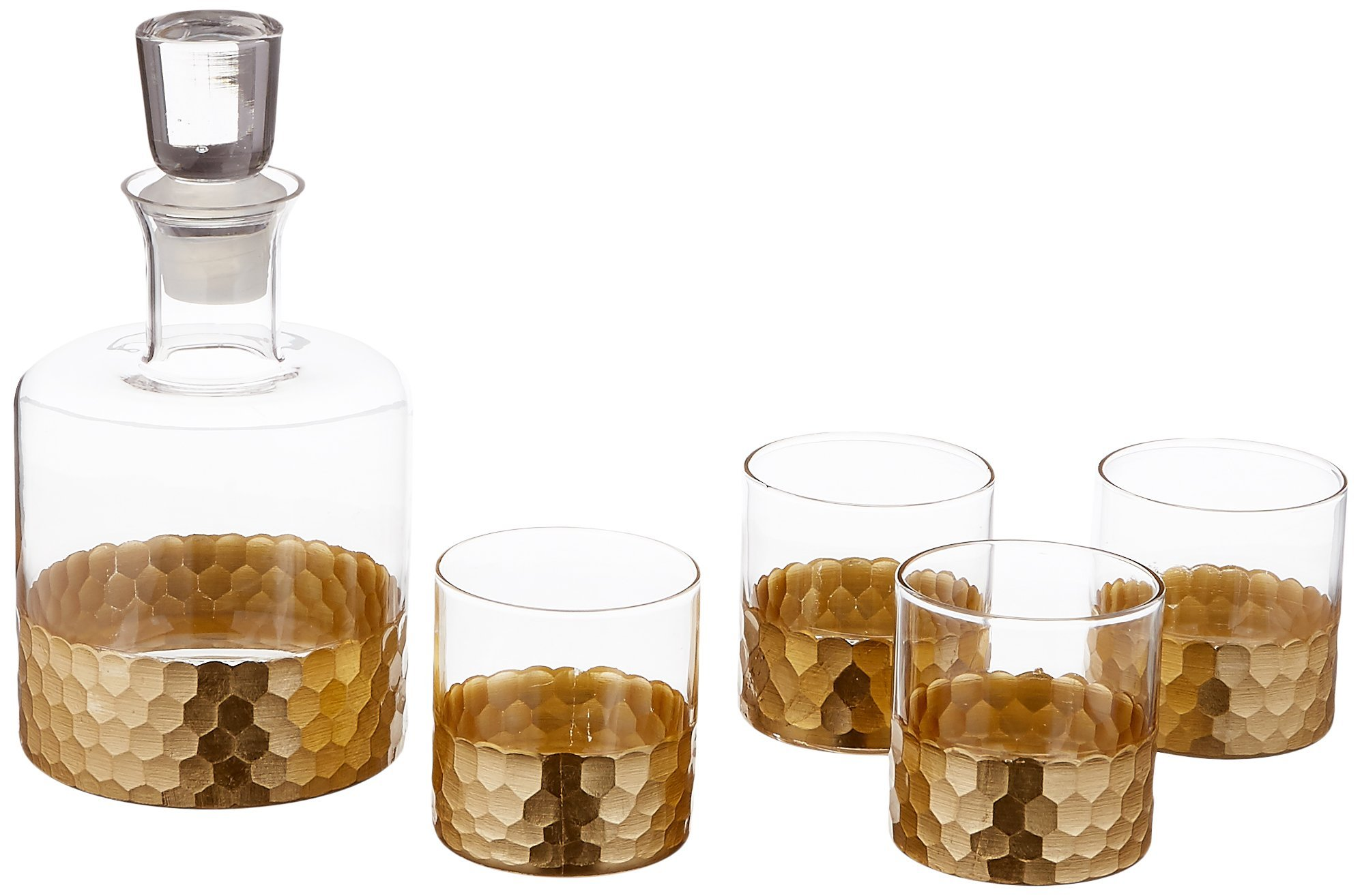 Fitz and Floyd Daphne 5 Piece Whiskey Set, Gold