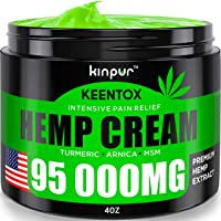Hemp Pain Relief Cream - 95 000MG - Relieves Muscle, Joint Pain, Lower Back Pain, Knees, and Fingers - Inflammation - Hemp Extract Remedy - Hemp Oil with MSM - EMU Oil - Arnica - Turmeric Made in USA