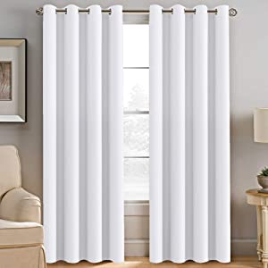H.VERSAILTEX White Curtains for Bedroom White Curtain 96 inches Long for Christmas Thermal Insulated Window Treatment Panel/Drape for Living Room, White, One Panel, Grommet Top