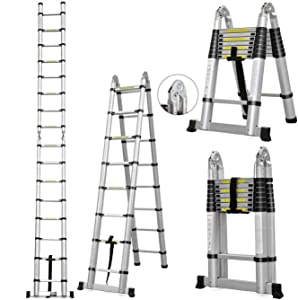 5m/16.4ft Aluminum Extension Telescopic Ladder Foldable A-Frame 8 Steps or 16 Steps Folding Ladders Multi-Use with Certificate EN131 Max Load 330lb, Multi-Purpose for Household Daily & Outdoor Use
