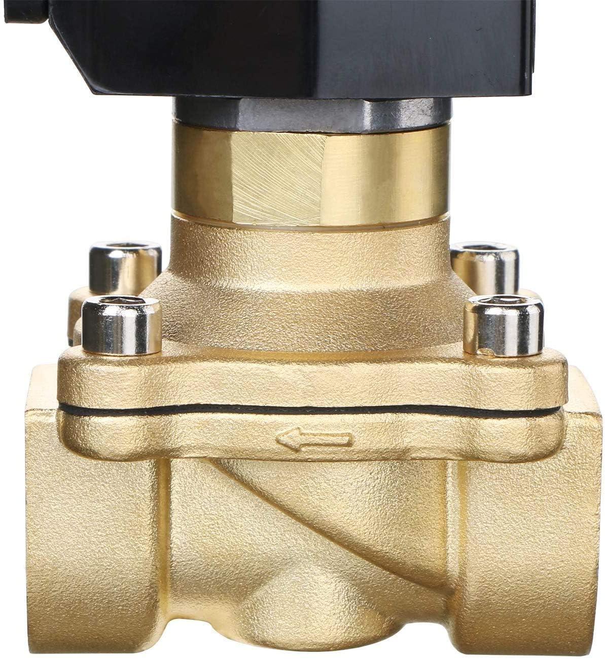 Solid 220V AC 3//4 G Elettrico elettrovalvola Ottone normalmente aperto Solenoid Valve Azionata Semi-direttamente Per Acqua Aria Olio U.S