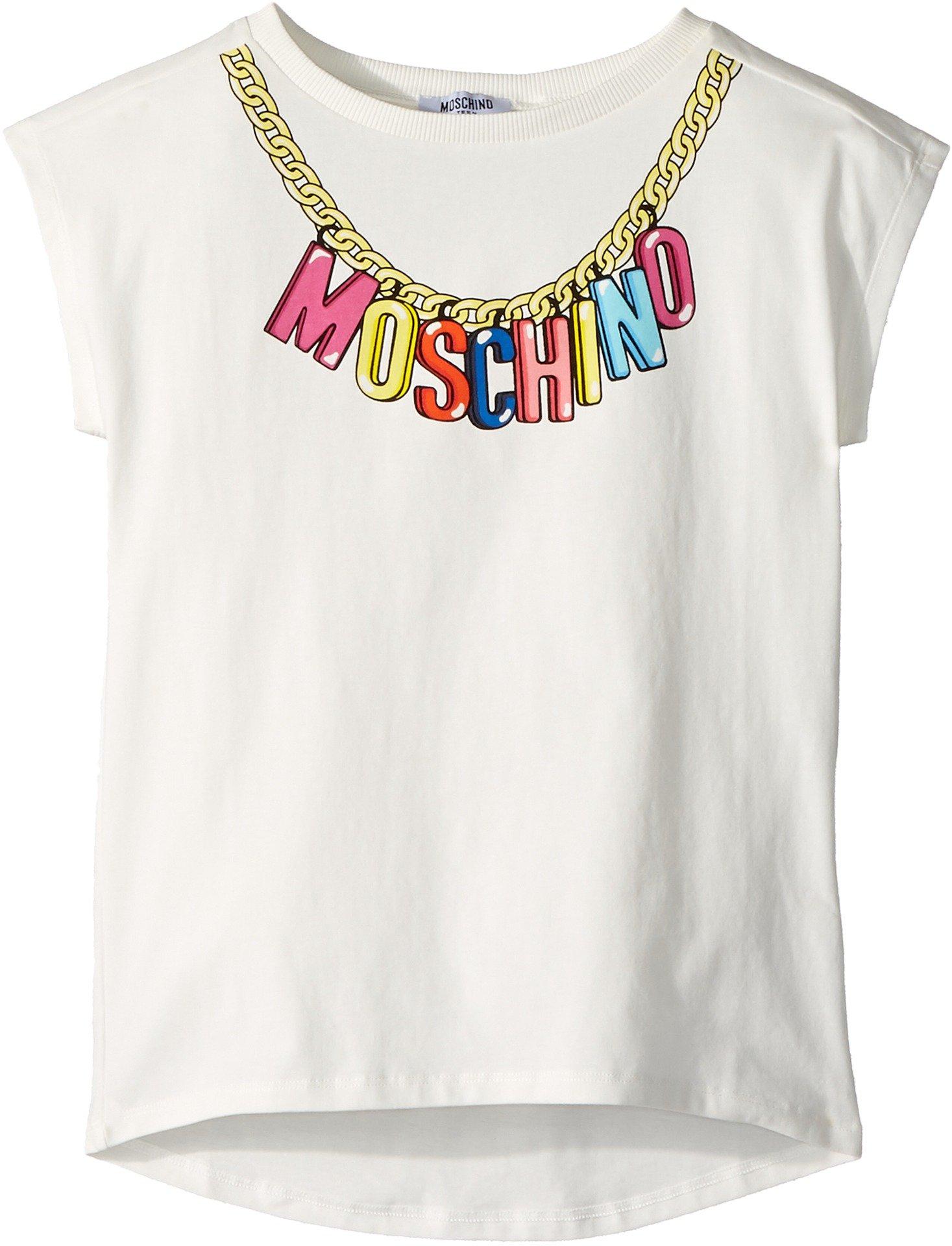 Moschino Kids Girl's Short Sleeve Logo Necklace Graphic T-Shirt (Big Kids) Cloud 12