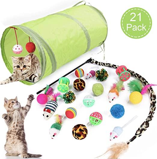 Sunshine smile Juguetes para Paquete de Variedad para Gatitos,Set di Juguetes para Gatos Interactivo Ratón,Juguetes para Gatos con Bolas Varita,Juguetes para Gatos con Plumas túnel (21 Piezas): Amazon.es: Productos para mascotas