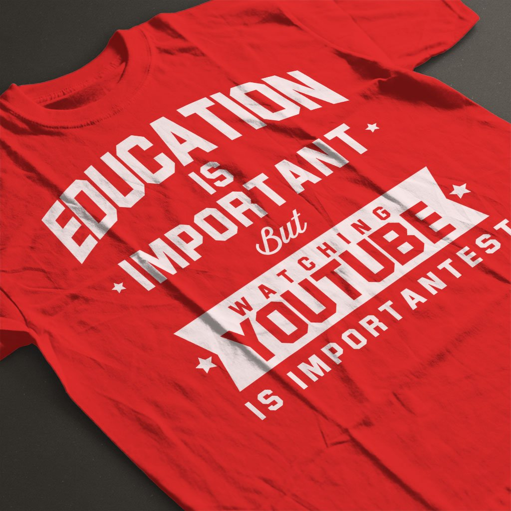 Coto7 Education is Important But Watching YouTube is Importantest Kids T-Shirt