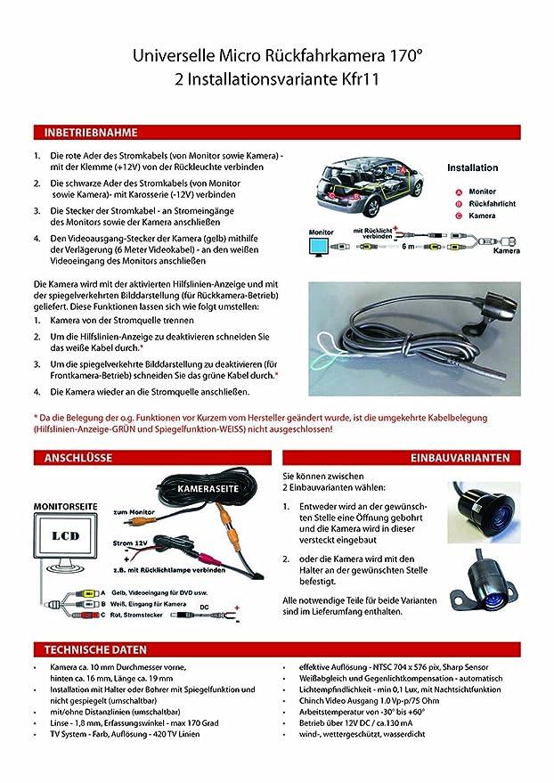 Auto Rückfahrkamera Frontkamera 170 Grad: Amazon.de: Elektronik