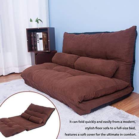 Excellent Harper Bright Designs Adustable Foldable Sleeper Chair Lazy Sofa Folding Futon Sofa Bed Video Gaming Sofa Chair With Two Pillows Brown Ocoug Best Dining Table And Chair Ideas Images Ocougorg