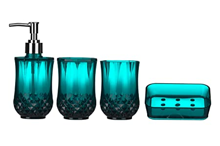 Premier Housewares Cristallo Bathroom Set   Blue, 4 Pieces