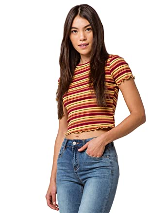 4bd2aa5cf8a Violet Moon Ribbed Lettuce Edge Rust Crop Tee at Amazon Women's Clothing  store: