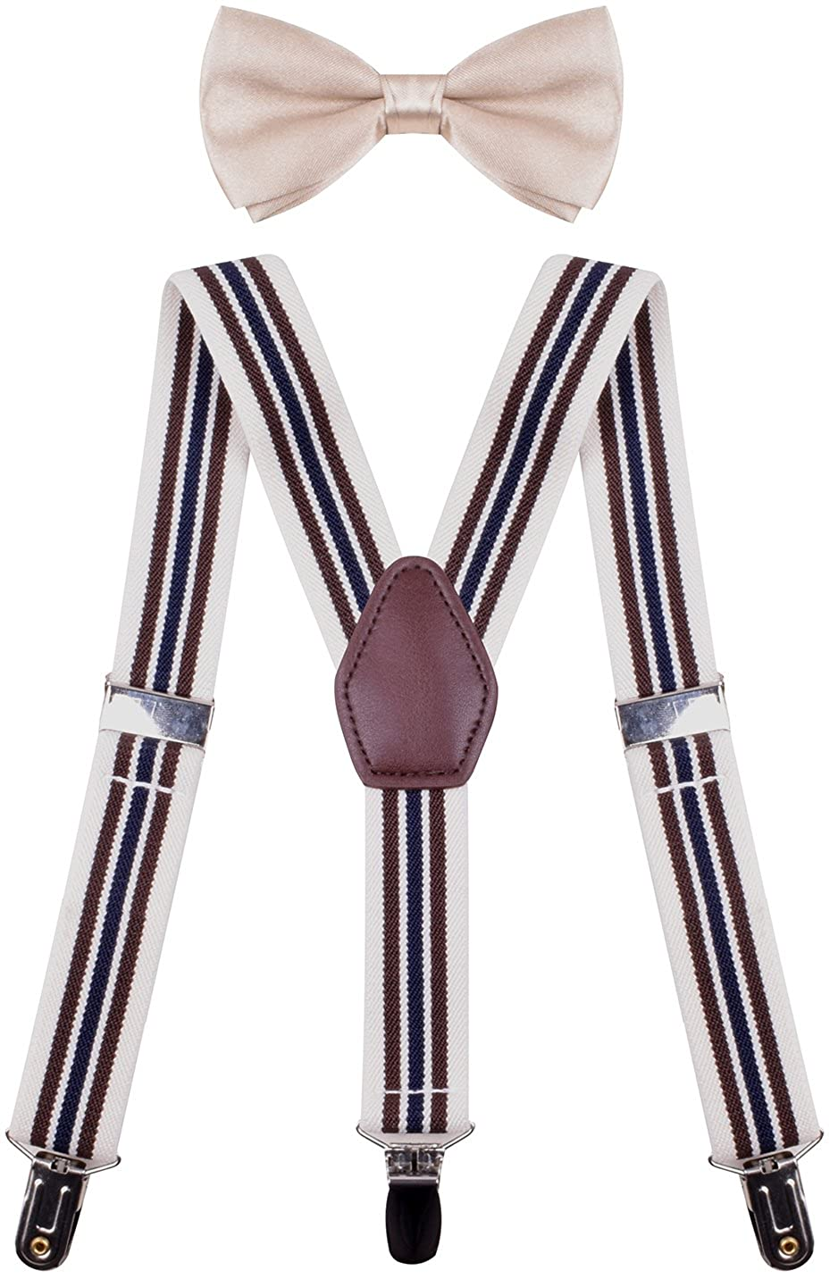 ORSKY Mens Boys Suspenders with Bow Tie Set Adjustable Y Back YHUWEGGV022556