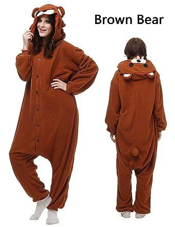 d3d648c4e561 Amazon.com  Mybei Unisex Adult Bear Onesies Animal Cosplay Costume Pajamas  Halloween  Clothing