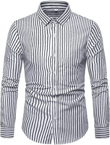 Jofemuho Mens Stripe Casual Slim Fit Long Sleeve Lapel Neck Button Down Dress Shirt