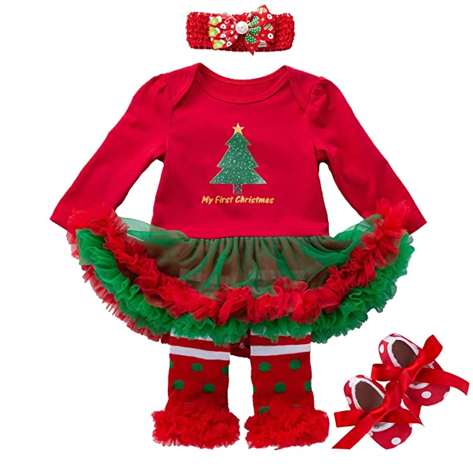 Christmas Tutu Outfits.Happydoggy Child Christmas Outfit For Baby Girls Newborn Toddlers 1st Xmas Tutu Dress Set Gift