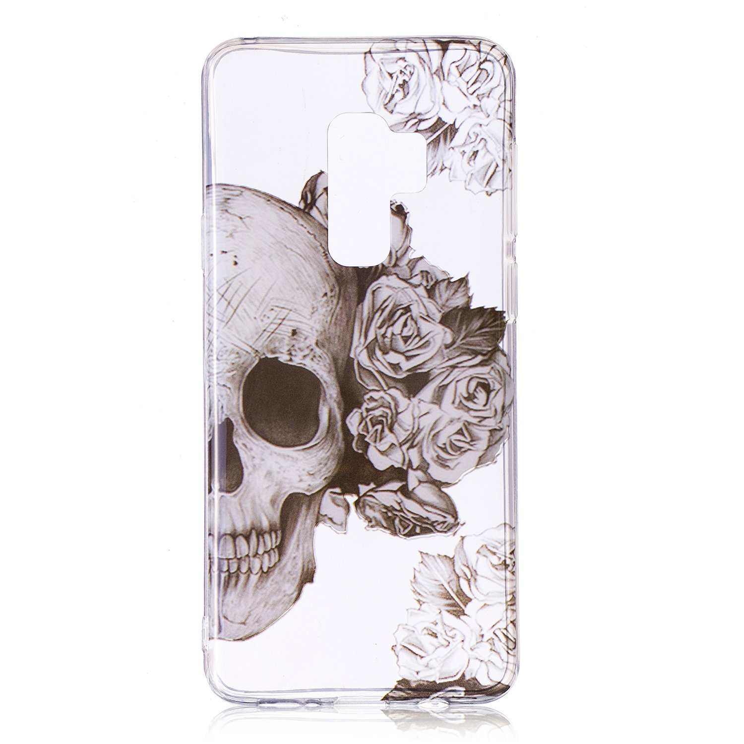 Galaxy S9 Case, for [S9 ], MerKuyom Lightweight [Clear Crystal Transparent] [Slim-Fit] Flexible Gel Soft TPU Case Skin Cover for Samsung Galaxy S9 5.8-inch, W/Stylus (Smoke Half Flower Skull)