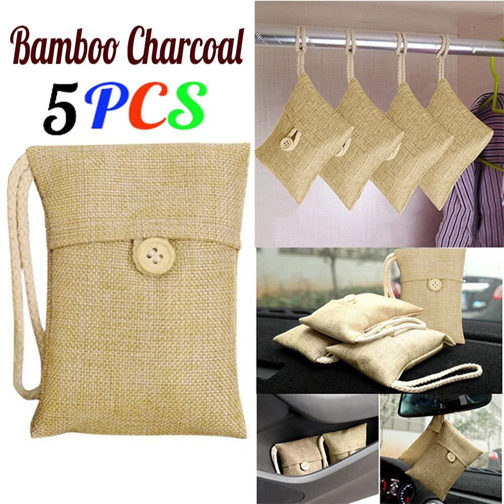 sunnymi Natural Air Purifying Bag Car Bamboo Charcoal Activated Carbon Air Freshener Odor Deodorant (5pcs)
