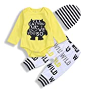 3Pcs Newborn Baby Boys Clothes Letter Print Romper+ Casual Pants+Hat Outfits Set (0-6 Months, Yellow)