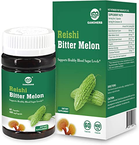 GANOHERB Reishi Mushroom Bitter Melon Capsules with Organic Ganoderma Spore Powder and Extract- Balanced Blood Sugar Level Diabetes Non-GMO Gluten Free ,100 Natural, 400mg 60 Veggie Capsules