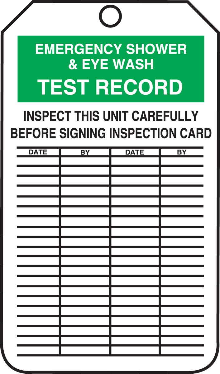 Accuform MGT313PTM RP-Plastic Jumbo Tag, Legend''EMERGENCY SHOWER and EYE WASH TEST RECORD'', 8-1/2'' Length x 3-7/8'' Width x 0.015'' Thickness, Green/Black on White (Pack of 5)