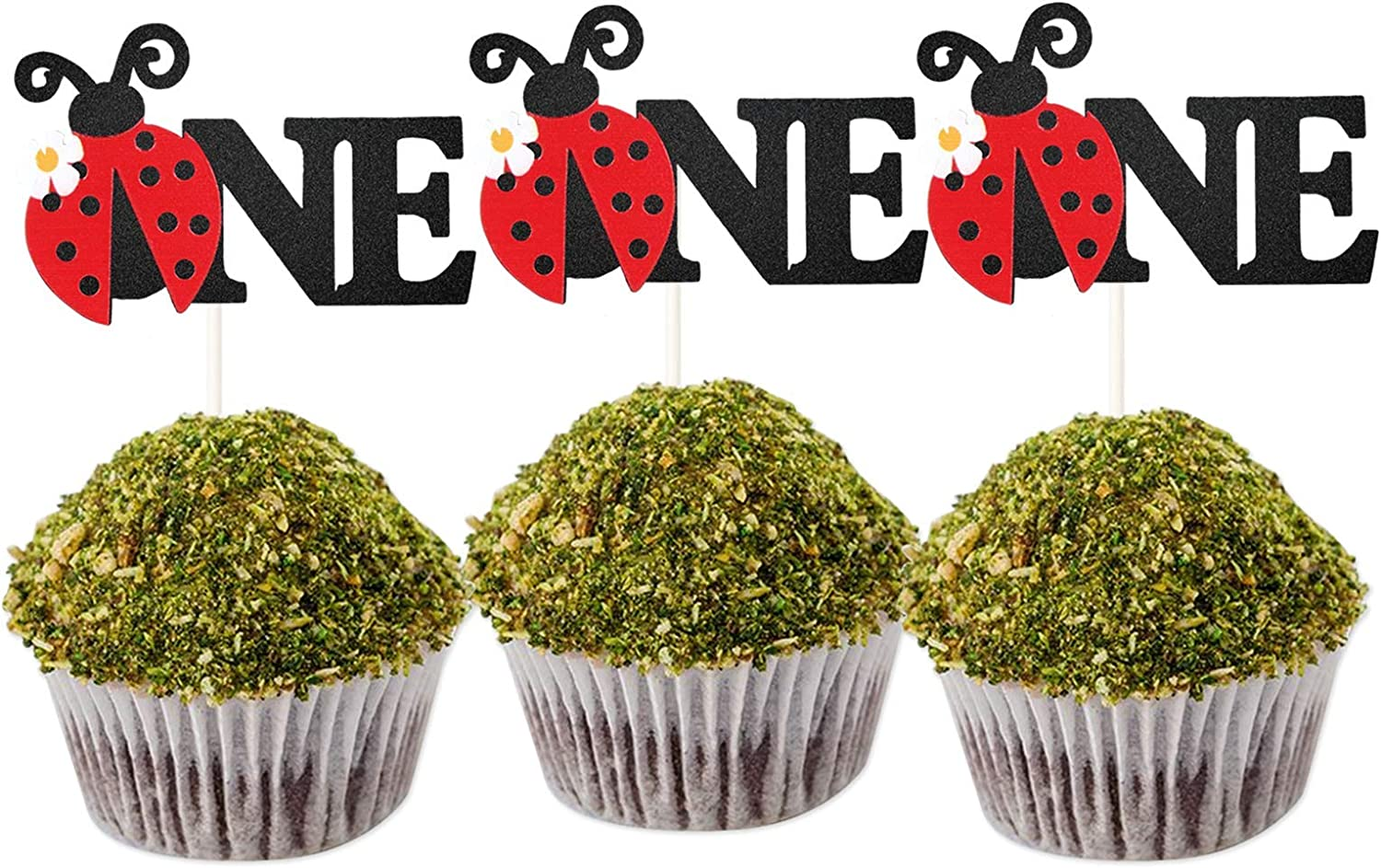 LILIPARTY 24Pcs Glitter Ladybug One Cupcake Toppers Garden Theme Party Dessert Cupcake Picks for 1st Birthday Wedding Party Baby Shower Spring Summer Garden Party Decoration Supplies