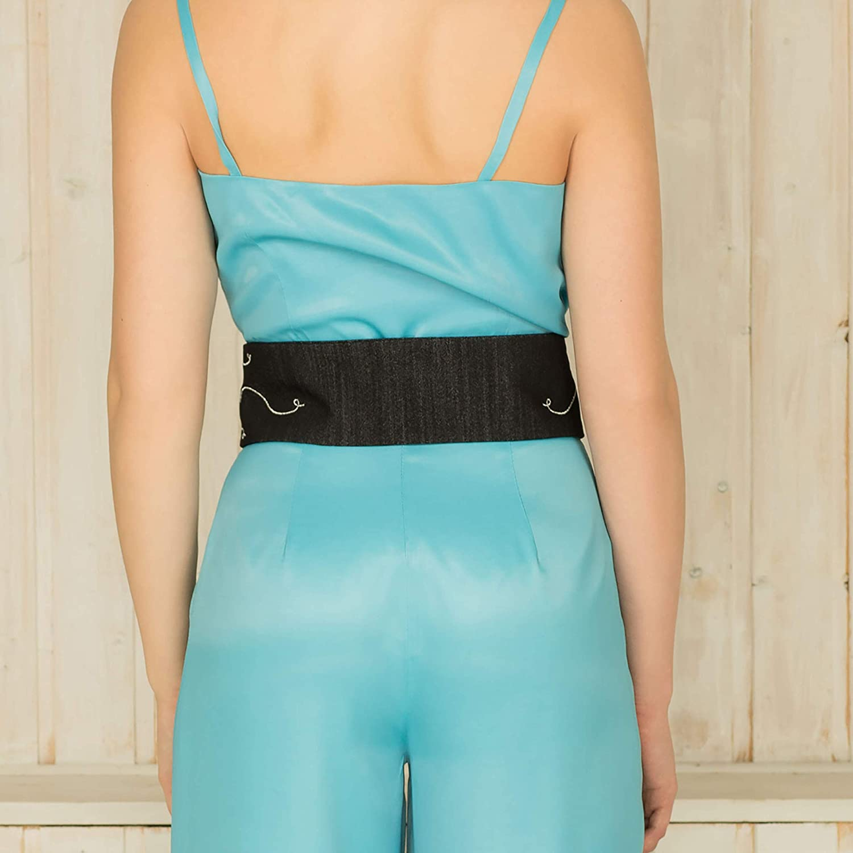 Womens Belt Belt for women Classy Waistband for girls || Custom Handmade Gift for Wedding Festival Occasion Anniversary Graduation Hippie Style Denim Waistband Black || Lurex Embroidered