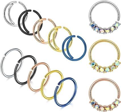 Inspiration Dezigns Single Line Paved Gem Gold Non-Piercing Septum Hanger Sold Individually