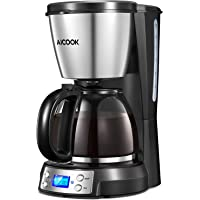 Coffee Maker, Aicook Filter Coffee Machine, 12 Cup Programmable Coffee Makers with Timer, Keep Warm & Auto-off Function, Anti-Drip System, Permanent Reusable Filter, 1.5 L, Black and Silver