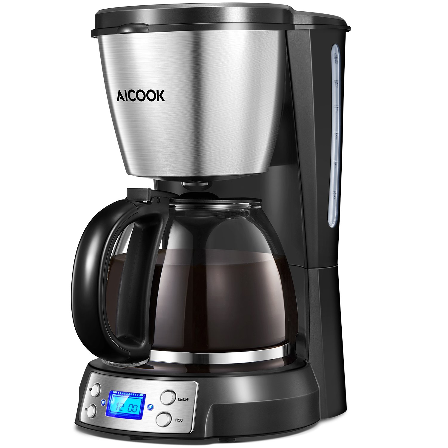 Coffee Maker, Aicook Drip Coffee Machine, 12-Cup Coffee Maker with Timer, Anti-Drip System, Keep Warm for 40 Minutes and Automatically Shut Down, 1.5L Programmable Filter Coffee Makers, Reusable Filter, Black.