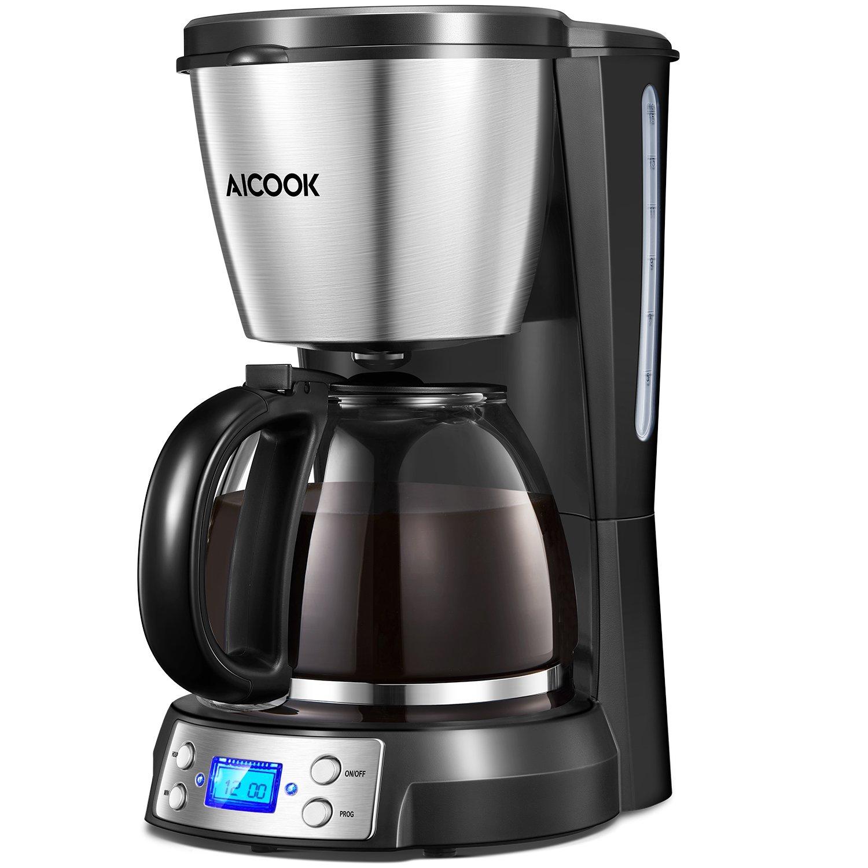 Aicook Cafetera, Cafetera Goteo, Cafetera Goteo Programable 12 Tazas con Jarra de Vidrio,