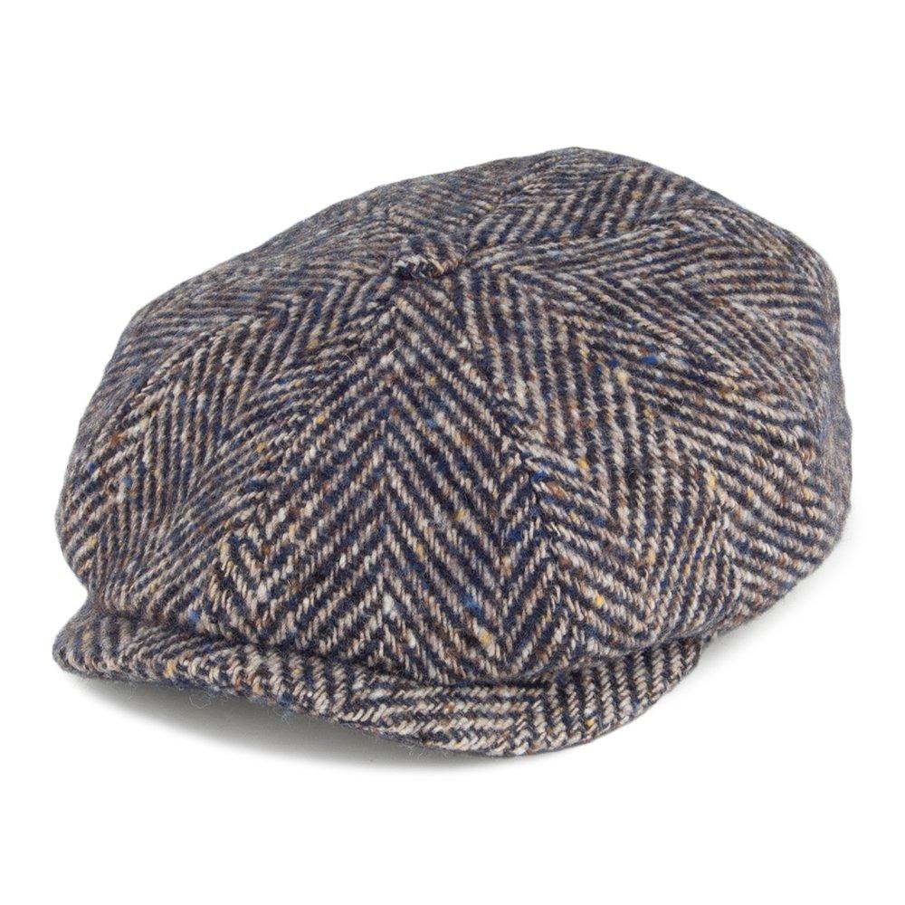 631619b256e Stetson Hats Hatteras Herringbone Virgin Wool Newsboy Cap - Blue-Brown  2XLARGE  Amazon.co.uk  Clothing