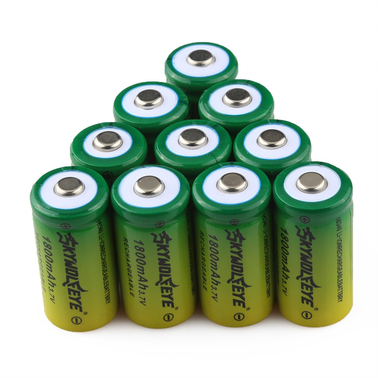 10 Pcs 3.7V 1800mAh 16340 Li-ion Battery CR123A Rechargeable Batteries for Alro Flashlight Torch Headlamp