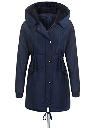 d12d24cd5d5d4 Beyove Women s Fur Hooded Warm Winter Parkas Anroaks Quilted Long Coats  Navy Blue S