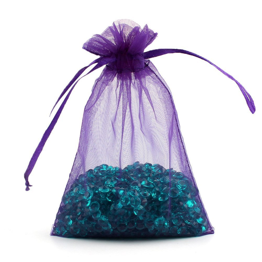100Pcs Organza Drawstring Jewelry Pouches Bag Party Wedding Gift Bags Candy Mesh Favor Bag 4X6 Inches Purple