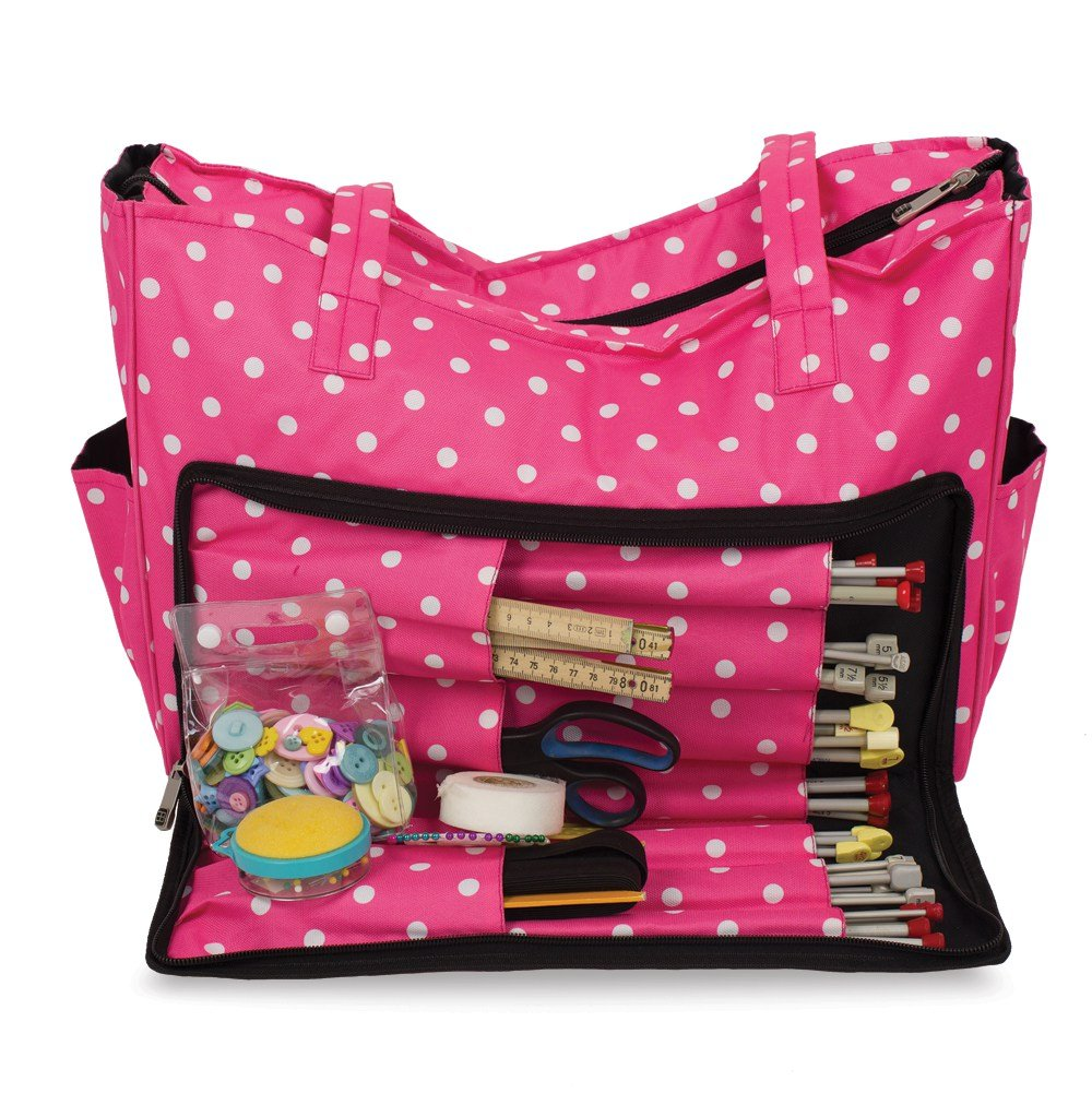 Knitting Shoulder Bag, Sewing Accessories and Craft Needle Storage Organiser Case In Pink Polka Dot Roo Beauty Ltd