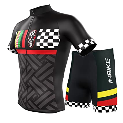 e806868c2 INBIKE Summer Breathable Cycling Jersey and 3D Silicone Padded Shorts Set  Outfit Mountain Bike Short Sleeved T-Shirt Elastic Jacket Moisture Wicking  Qucik ...