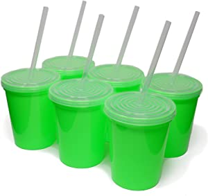 Rolling Sands 16oz Reusable Plastic Stadium Lime Green Cups with Lids, 6 Pack, USA Made; Plastic Tumblers and Lids, Includes 6 Reusable Straws; Top Shelf Dishwasher