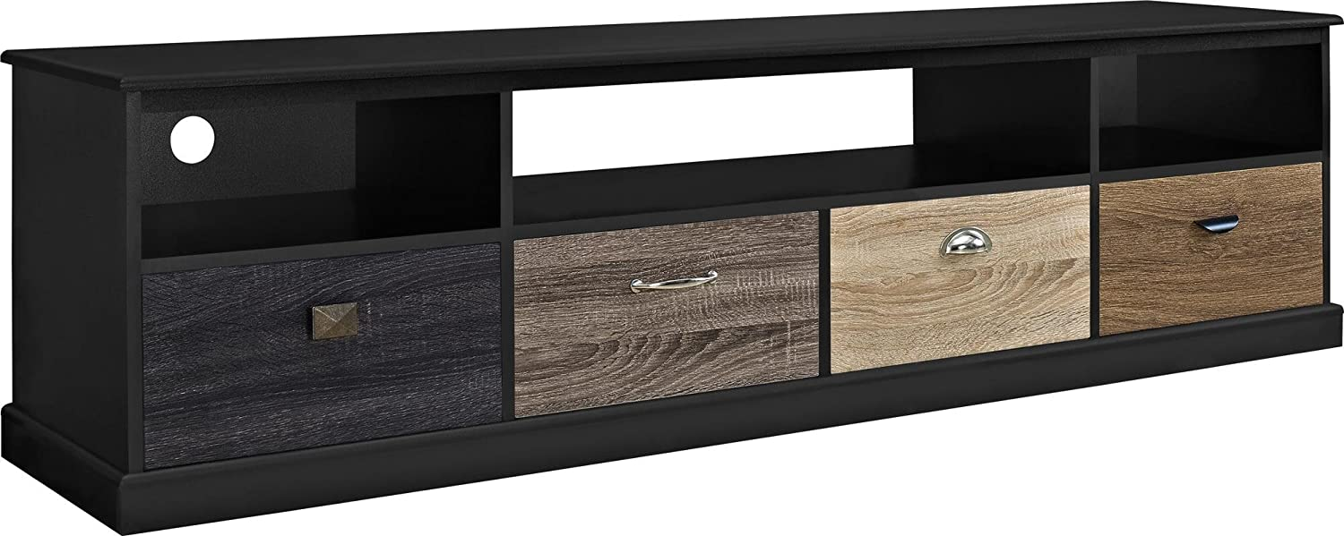 Black Ameriwood Home Blackburn TV Console with Multicolord Door Fronts for TVs up to 60  Wide (Black)