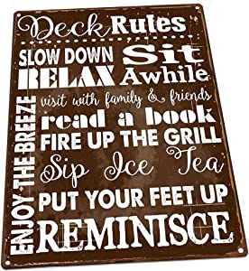 HBA Deck Rules Metal Sign, Motivational Rules to Live by, Positive Thinking, Modern Decor